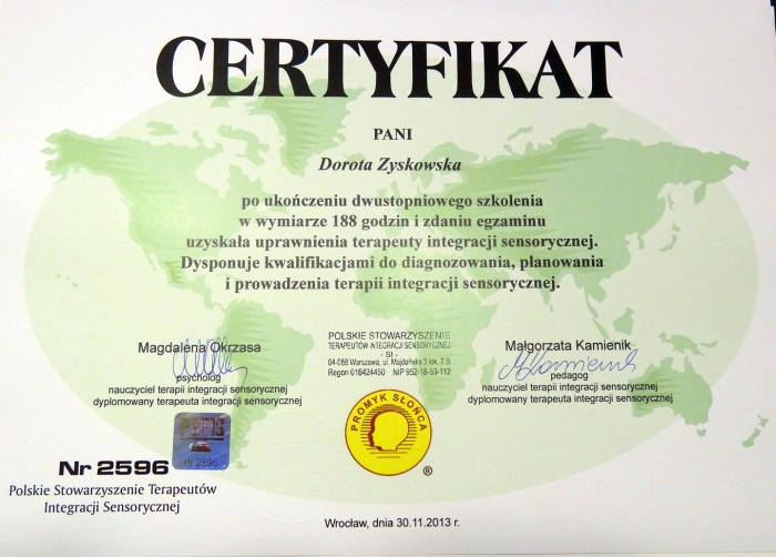 Dorota Zyskowska - Logopeda Częstochowa - certyfikat